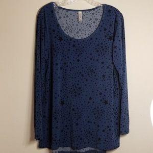 Lularoe blue stars sz XL top long sleeve